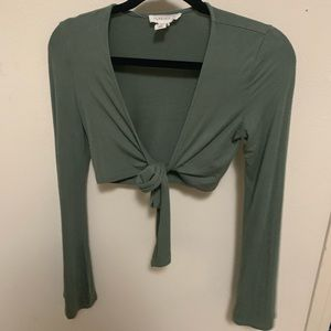 Long sleeve tie up shirt